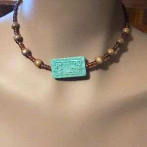 Cute little express necklace w carved out square